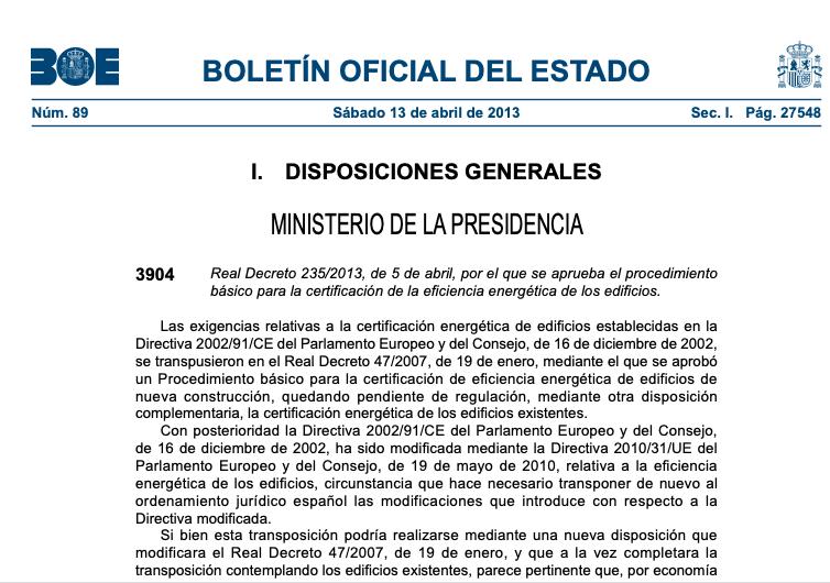 El Real Decreto publicado en el BOE desde 2013